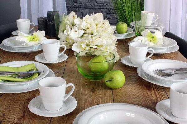 Combi-service 30tlg avec gobelets HORIZON  BLANC  Frise porcelaine