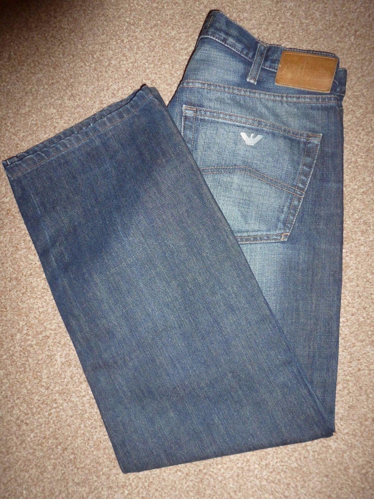 Da Uomo GA ARMANI JEANS AJ SERIE J07 Blu Denim Jeans Gamba Dritta Vita 32 Gamba 29