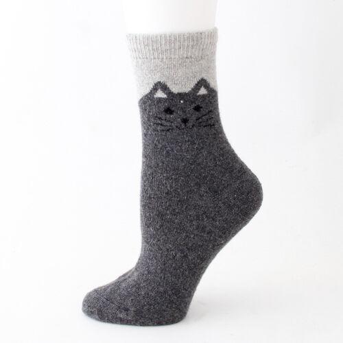 1//5 pares Mongolia Cashmere Lana caricatura de gato reverso para Mujer Calcetines De Lana Pura