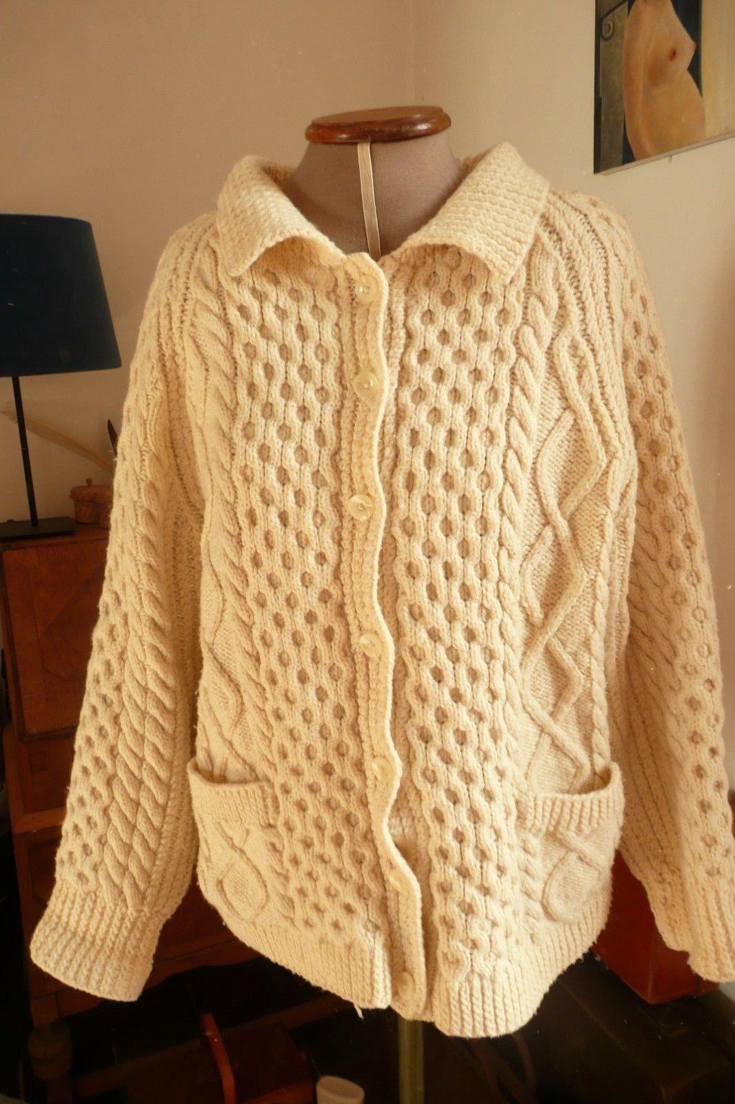 Vintage Tejido a Mano Crema Aran Cable Tejido Cardigan Cardigan Cardigan De Gran Tamaño Gruesa encaja 10-18 0f34d9