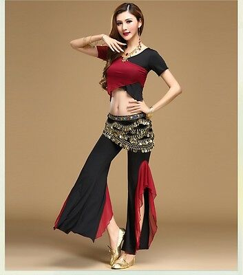 AU Professional Belly Dance Costume Tribal Wrap Top Pants Waist Chains 3pcs Set