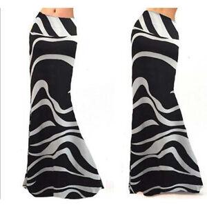 Women-Plus-Size-3XL-Fold-High-Waist-Striped-Over-Print-Long-Maxi-Stretchy-Skirt