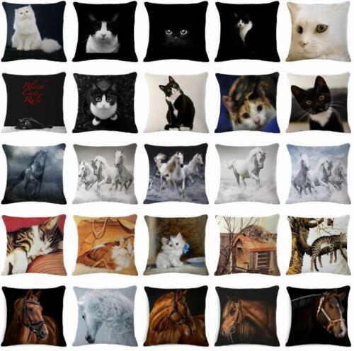 Cat Horse Throw Pillow Case Cotton Linen Home Decor Sofa Car Waist Cushion Cover