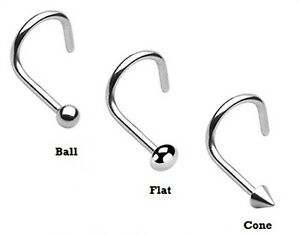New-Surgical-Steel-Hook-Nose-Screw-Stud-Ring-with-Ball-Cone-Flat-Top-1mm