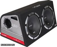 """Vibe Slick Twin 12"""" Active Subwoofers Subs and Box 2400w Built in AMP"""