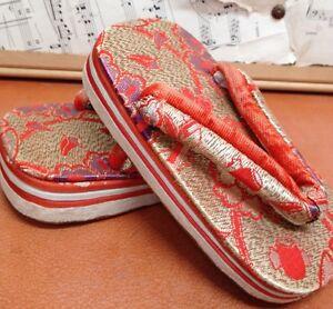 "ASIAN GEISHA Shoes ZORI VINTAGE Orange Gold Sandals Dress-Up COLLECTIBLE 7 6"""