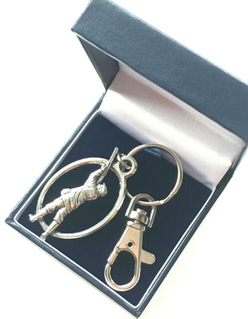 Gamekeeper Keyring with Clip Handcrafted from Pewter In The UK + Blue Gift Box