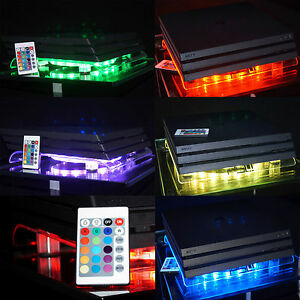 MULTICOLOR-PLAYSTATION-4-ps4-Pro-Gamer-RGB-LED-USB-Design-RADIATORE-SUPPORTO-VENTOLA