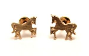 Unicorn Stud Earrings Yellow Gold Plate Tiny Carded