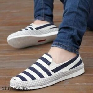 Mens-Striped-Canvas-Driving-Moccasins-Gommino-Casual-Flats-Slip-on-Loafers-Shoes