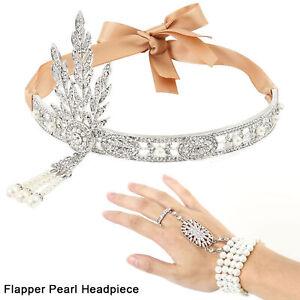 1920s-Flapper-Great-Gatsby-Headpiece-Diadema-pulsera-anillo-conjunto-regalos