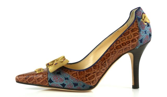 8084a26f28489 Cole Haan Angelia Vintage Leather Gold Bow High PUMPS 8884 Size 6 B