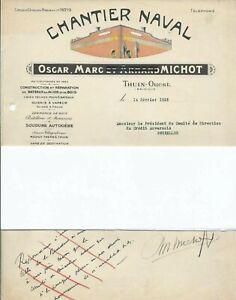 1935-Thuin-Michot-Chantier-Naval-batellerie-lettre-autographe-oscar-michot-thuin