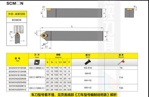 External Lathe Turning Holder For CC**1204** INSERT 20×125mm SCMCN2020K12