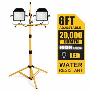 200W 20,000lm LED Dual-Head Work Light w/Adjustable Tripod Stand IP65 Waterproof