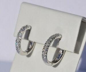 Echt-925-Sterling-Silber-Ohrringe-Creolen-Zirkonia-crystal-Hochzeit-12-mm-Nr-317