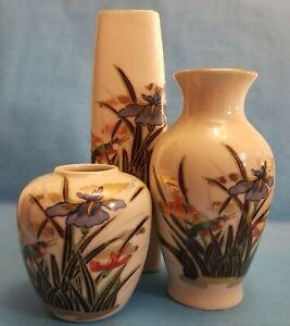 Collection of 3 Vintage Porcelain Vases Iris Flowers Kawasemi Kingfisher Japan