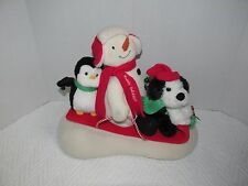 Hallmark 2007 Jingle Pals Plush Musical Snowman Penguin Dog Sledding Sleigh Ride