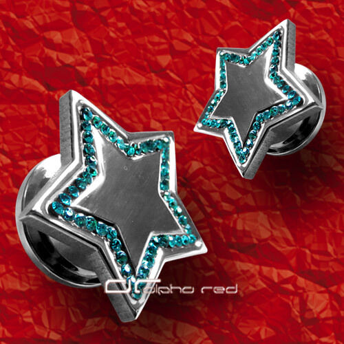 """/""""/""""/""""cristal estrella Plug túnel piercing oreja 6-16mm 2 colores 2604"""