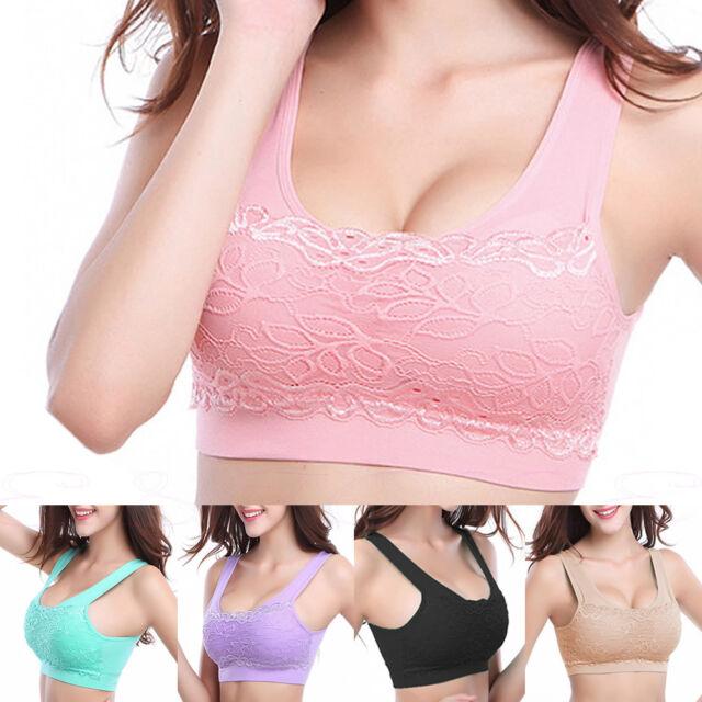 Women Yoga Fitness Stretch Workout Tank Top Seamless Lace bra Padded Sports Bra