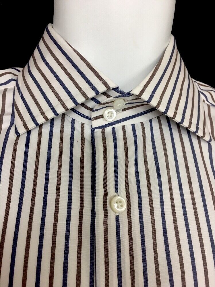Cesare Attolini Shirt  Size 39 White, bluee And Brown Stripe