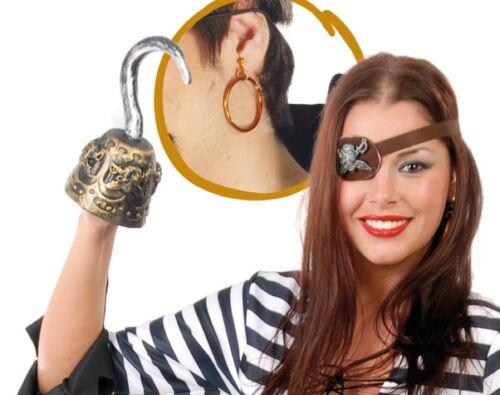 Set per travestimento pirata lusso uncino orecchino e benda