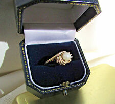 14K Yellow Gold Akoya Pearl With Genuine Diamonds Size 6 Ring June's Birthstone!