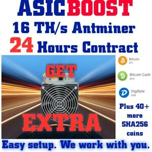 NEW-AsicBOOST-Antminer-S9-16-TH-s-24-Hrs-Mining-Contract-Bitcoin-amp-any-SHA256