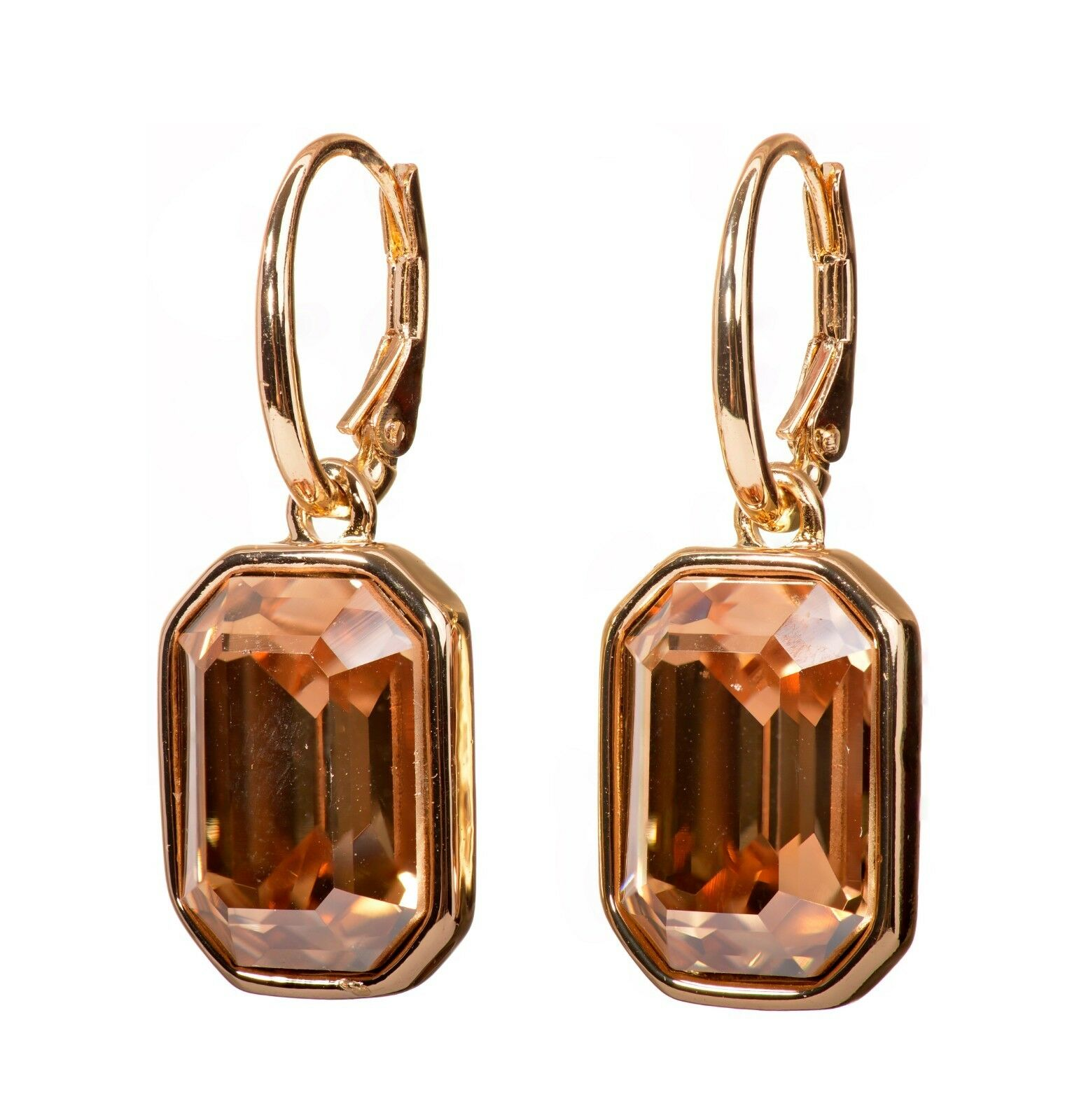 Swarovski Elements Crystal golden Octagon Drop Earrings gold Authentic 7338y