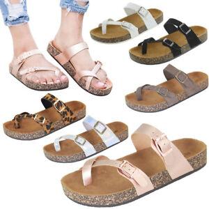 NEW Thong Open Toe Double Buckle Strap Slides Cork Flat Sandal Shoe Flip Flops