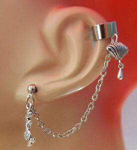 Image Is Loading Ear Cuff Silver Mermaid Amp S Charm Drop