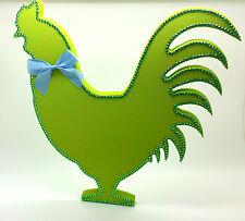 GREEN RHINESTONE CHICKEN COCKERAL WOOD CHRISTMAS DECORATION SHABBY CHIC HOME
