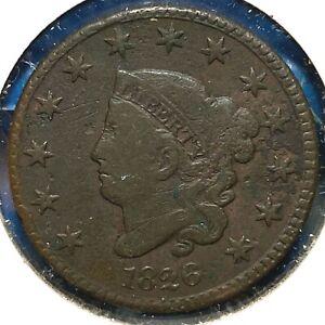 1826 1C Coronet Head Cent (61373)