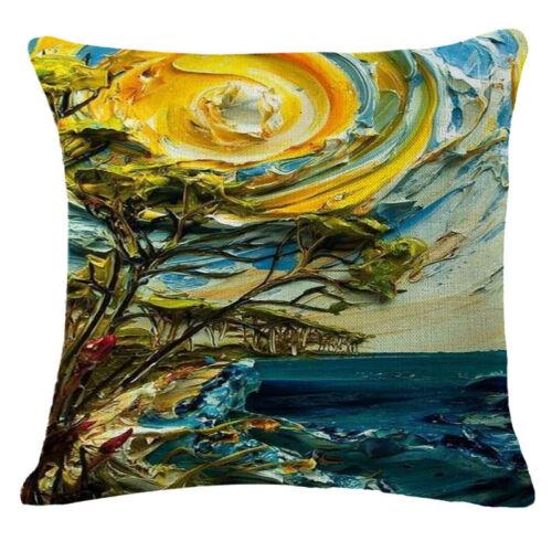 Oil painting landscape plants Cotton Linen Throw Pillow Case Cover Home Decor