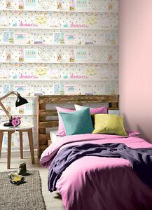 Arthouse Girls Life Multi Kids Girls Feature Wall Bedroom Wallpaper ...