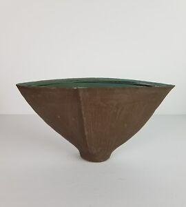 Mid-Century-Ikebana-Vase-Pottery-Brown-Planter-Container-Japan-Coconut-Vtg