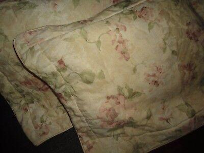 CROSCILL ANTIQUE ROSE FLORAL CREAM GREEN (PAIR) KING PILLOW SHAMS 21 X 37