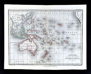 1865 meissas michelot map oceania australia new zealand hawaii image is loading 1865 meissas amp michelot map oceania australia new gumiabroncs Choice Image