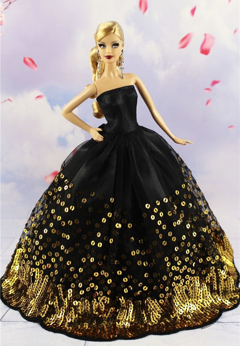 Luxury Black Wedding Party Dress Gold Sequins Clothes Grows for 11inch Doll Gift 4