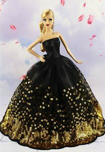 Black-Wedding-Party-Dress-Gold-Sequins-Clothes-Grows-for-11inch-Doll-Gift
