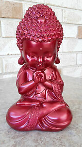 Baby-Buddha-Figurine-Statue-Ornament-Feng-Shui-22cm-Pink-Red