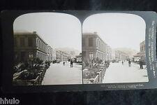 STA763 Rue Valparaiso Chili Chile street albumen Photo stereoview 1900
