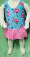 Iplay Blue Flamingo Pink Polka Dot Skirt One Piece Swim Suit Bathing Diaper
