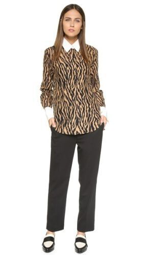 NEW 3.1 PHILLIP LIM Tiger Stripe Lace Classic Button Down Shirt- Größe 8 595