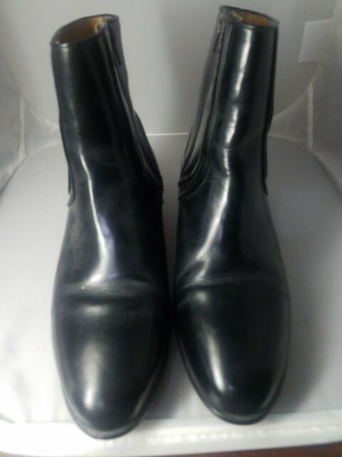 Mens Stacy Adams Black Leather Zip Up Ankle Boots Made in Brazil Size 9.5W