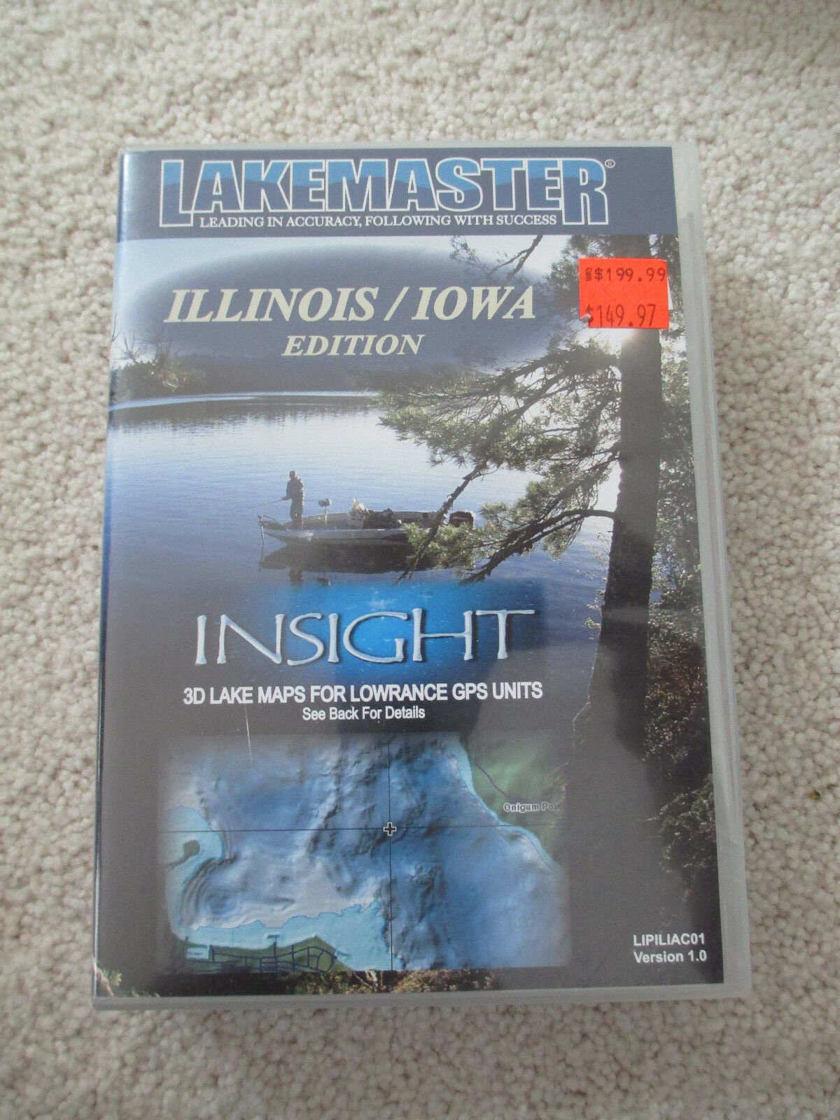 Lakemaster-détaillé GPS Lac Cartes-Illinois and Iowa-Insight petit diamètre DATA CARD