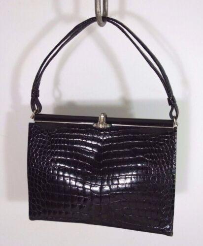Nan Duskin Black Genuine Crocodile Vintage Bag w/J