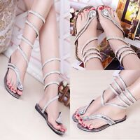 Gladiator Bling Roman Strap Flat Shoes Womens Mid Calf Rhinestone Thong Sandals