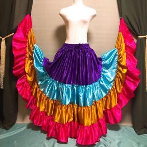Mix Satin 6//12//25 Yard 5 Tiered Gypsy Skirt Belly Dance Ruffle Flamenco Jupe