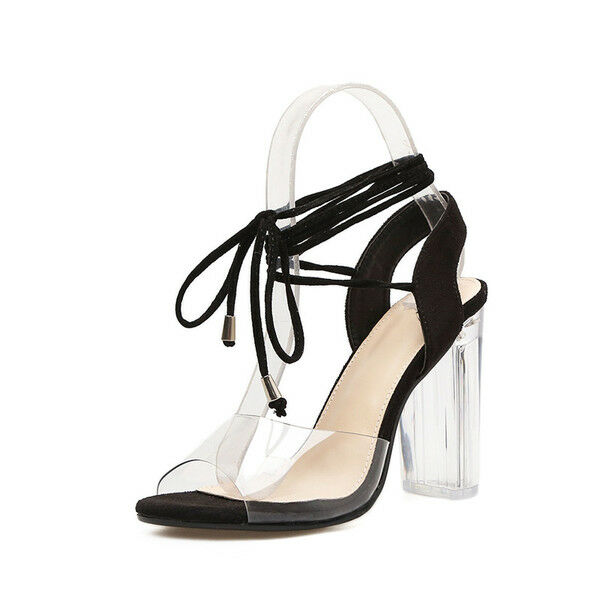 Square heel stylish sandals 9.5 cm negro laces and skin 9697